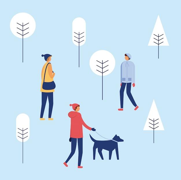 Счастливые зимние люди отдыхают
