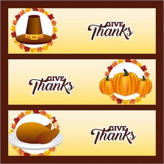 Счастливые баннеры благодарения