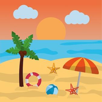 Пляжный летний пальмовый зонтик, шар, морская звезда, солнце, облака, море