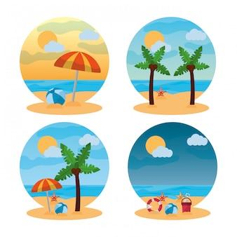 夏の風景の異なるシーンのビーチ