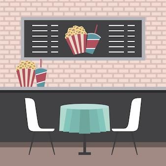 映画館カウンターテーブルチェアーポップコーンとソーダ