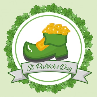 幸せな聖パトリックの日グリーティングカード、コインと緑のブートラベル