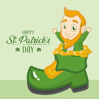 幸せな聖パトリックの日グリーティングカード、グリーンブーツから出てくるレプラコーン