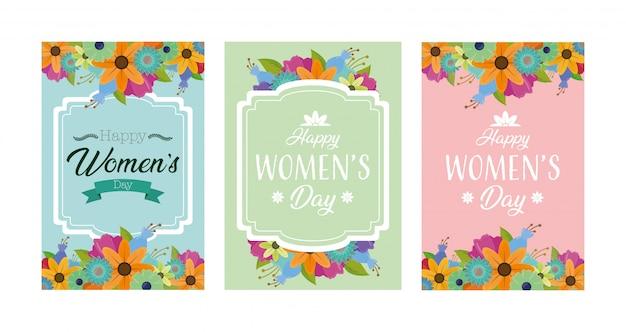 花と幸せな女性の日グリーティングカード