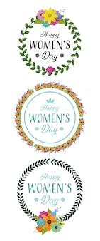 幸せな女性の日の花と花輪をラウンド