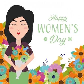 幸せな女性の日グリーティングカード、花に満足している女性