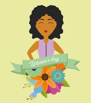 幸せな女性の日グリーティングカード、リボンと花を持つ女性