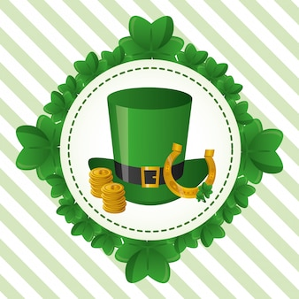 緑の帽子、幸せな聖パトリックの日のラベル