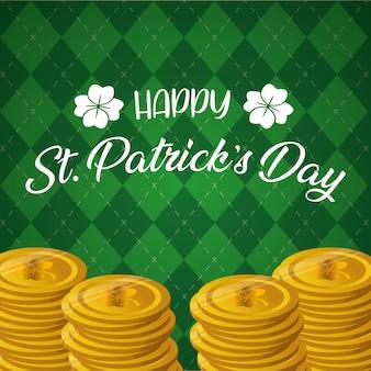 幾何学的な緑のグリーティングカード、ハッピー聖パトリックの日のコイン