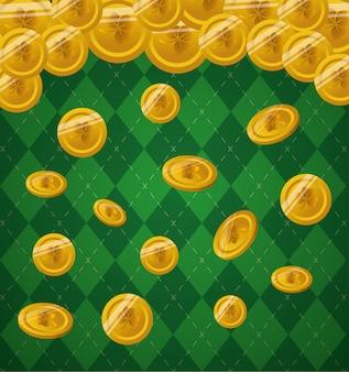 Золотые монеты падают на зеленый