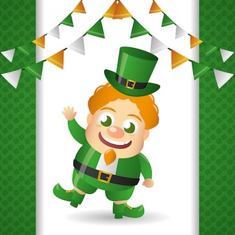 Ирландский лепрекон с зеленой шляпой, день святого патрика