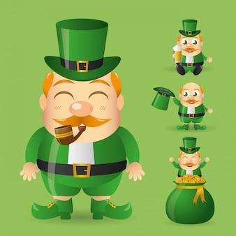 アイルランドのゴブリンは、緑の帽子で喫煙パイプをセットし、お金の袋から出てきました。