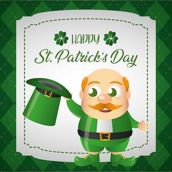 緑の帽子グリーティングカードとアイルランドのゴブリン喫煙者