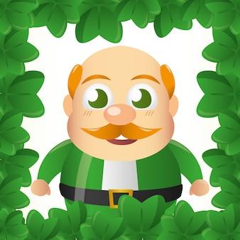 Ирландский гном, улыбающийся в обрамлении зеленых треболов, день святого патрика