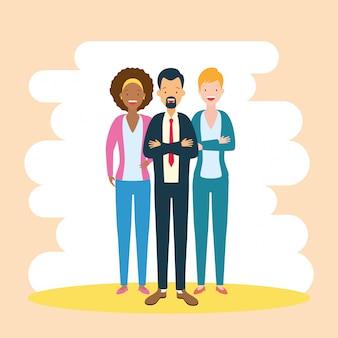 Разнообразие бизнес мужчина и женщина