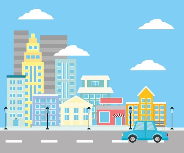 Городская улица застройки