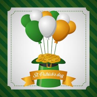 Зеленая шляпа с ирландскими воздушными шарами, поздравительная открытка на день святого патрика