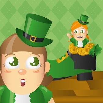 Ирландский лепрекон с шляпой и монетами, день святого патрика