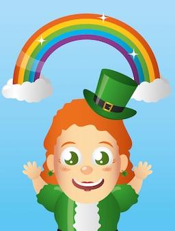 Счастливый ирландский гном с радугой, день святого патрика
