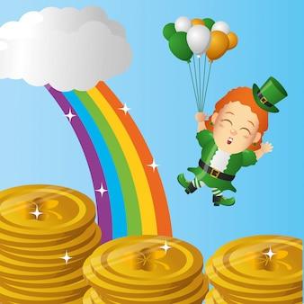 Ирландский лепрекон с монетами и радугой, день святого патрика