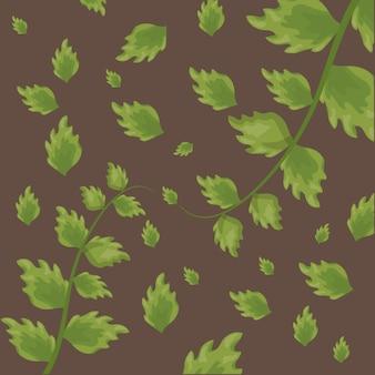 茶色の上の緑の熱帯の葉のパターン