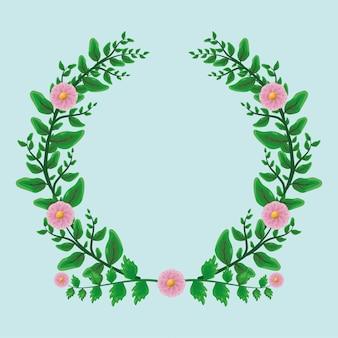 美しさの緑はフラット上のピンクの花で月桂樹の花輪飾りを残します