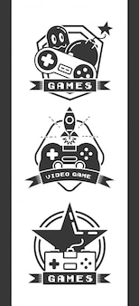 Набор объектов, связанных с видеоиграми в плоском стиле