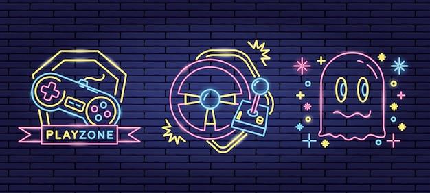 ネオンと嘘つきスタイルのビデオゲームに関連するオブジェクトのセット