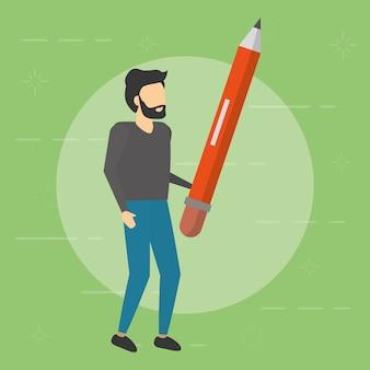 Бизнесмен держит деревянный карандаш, плоский стиль
