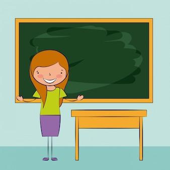 学校に戻って、教室で笑っている女の子