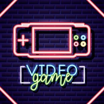 Персональная консоль, видеоигра неоновый линейный стиль