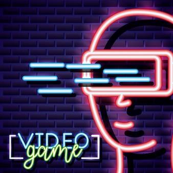 Виртуальная реальность, видеоигра неоновый линейный стиль