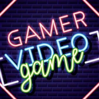 Геймер видео игры неоновый линейный стиль