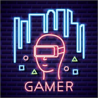 Человек с очками виртуальной реальности, видеоигра неоновый линейный стиль