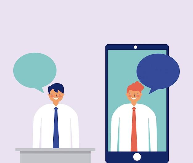スマートフォンとバブルのスピーチ、フラットスタイルで話している二人