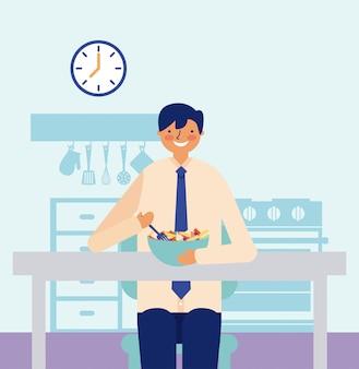 果物を食べる毎日の活動男