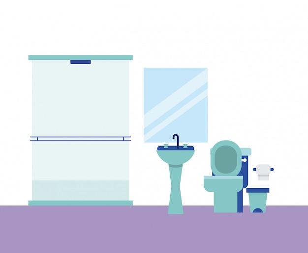 Ванная комната, домашнее зеркало, душевая бумага