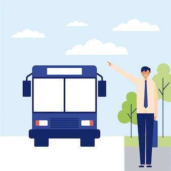Человек садится на автобус на работу