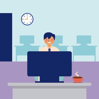 Улыбающийся человек работает офис повседневной деятельности