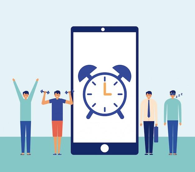 スマートフォン画面の時計の男の毎日の活動