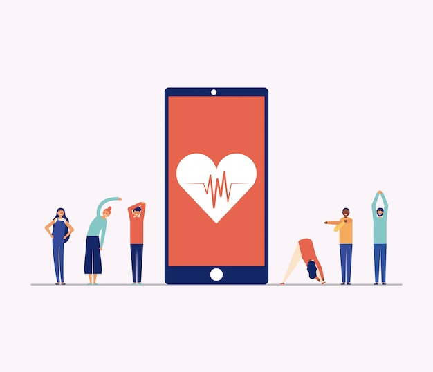 スマートフォン、オンラインフィットネスの概念の周りの運動をしている人