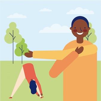 男と女の屋外運動を行う