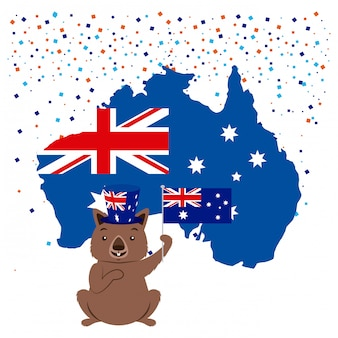 オーストラリアの旗と紙吹雪のある動物