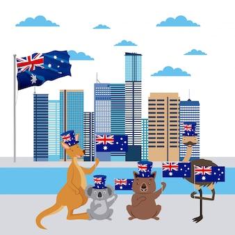 Кенгуру, коала, страус и австралийские животные с флагом