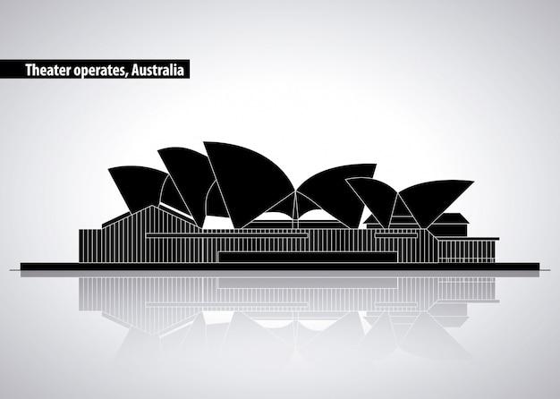 Оперный театр в сиднее, австралия, силуэт иллюстрации
