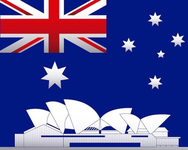 Асутралия флаг и оперный театр