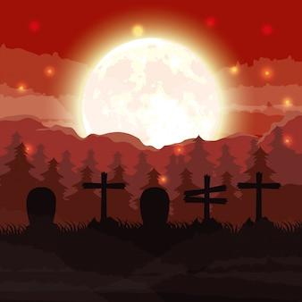 ハロウィーンの暗い墓地の夜景