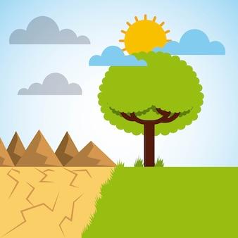 緑色の牧草地と砂漠の山々に分かれた風景
