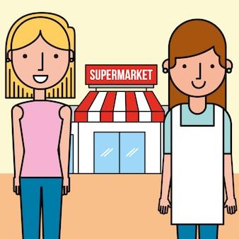 店員と顧客の女性スーパーマーケットの人々