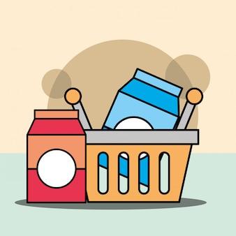 Корзина для покупок с молоком или соком